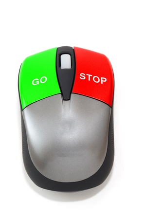 Stop and go concept with a mouse