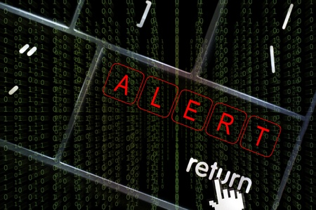 scamming: Alert concept with the focus on the return button overlaid with binary code Stock Photo