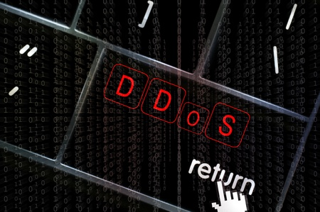 scamming: Distributed Denial of service concept with the focus on the return button overlaid with binary code Stock Photo