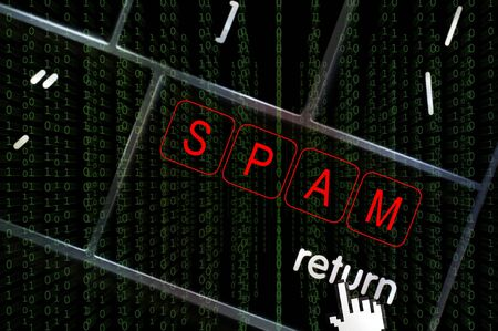 scamming: Spam concept with the focus on the return button overlaid with binary code Stock Photo