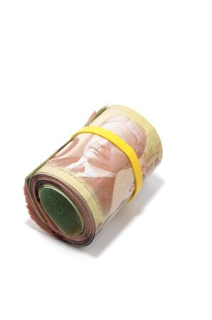 Roll of Canadian banknotes with 100 dollars at the surface photo