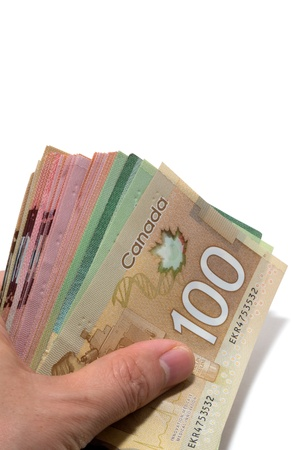 Hand holding a series of Canadian banknotes with 100 dollars on top Stock Photo