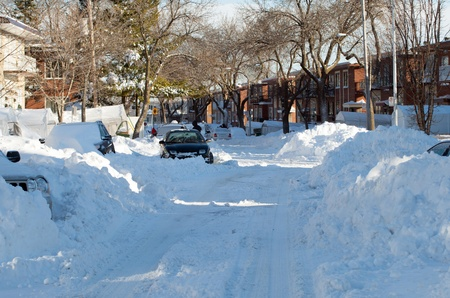 Street filled with snow after a snowstorm