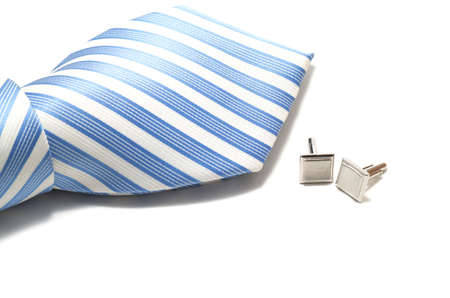 cuff: Tie and cuff links on the white