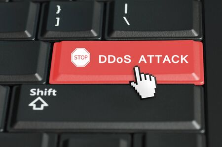 DDoS concept with the focus on the return button  photo