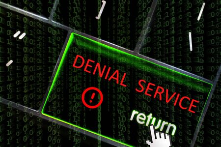 scamming: DDoS concept with the focus on the return button overlaid with binary code