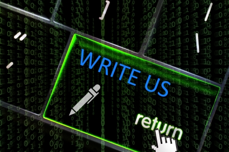 write us: Write Us concept with the focus on the return button overlaid with binary code Stock Photo