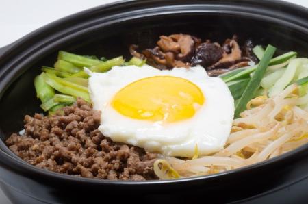 Korean traditional bibimbap in a clay pot Stock Photo