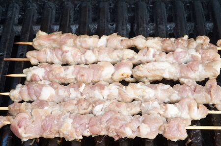 porc: Vietnamese Porc skewers on grill Stock Photo