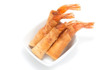 Vietnamese deep fried shrimps plate on white background