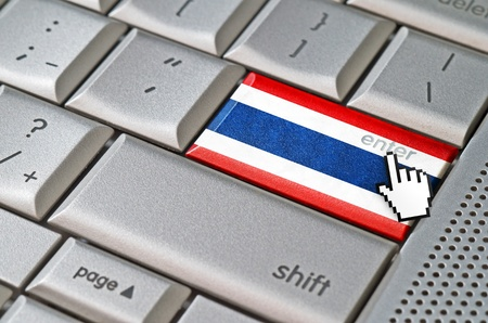 Business concept mouse cursor pressing Thailand enter key on metallic keyboard photo