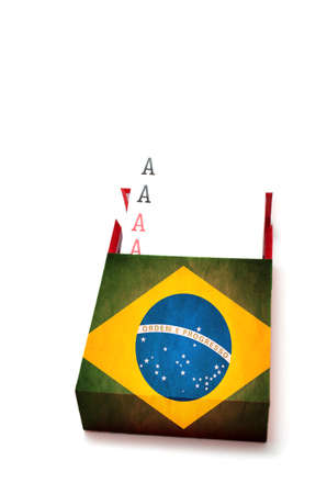 Power concept showing Four aces in Brazilian box on white background photo