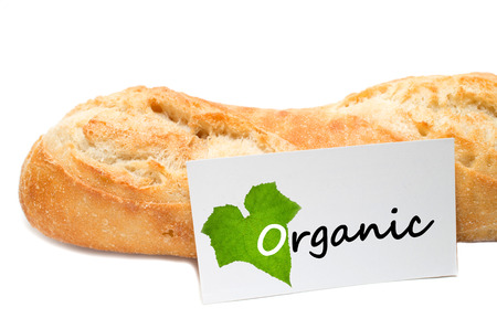 organic concept: Organic  concept from a bakery on white background