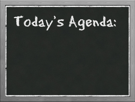 white chalks: Black board with word todays agenda Stock Photo