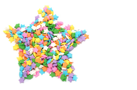 Multi colors stars candy forming star shape photo