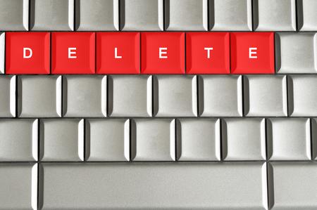 Concepto Eliminar escribe en el teclado metálico Foto de archivo - 23075043