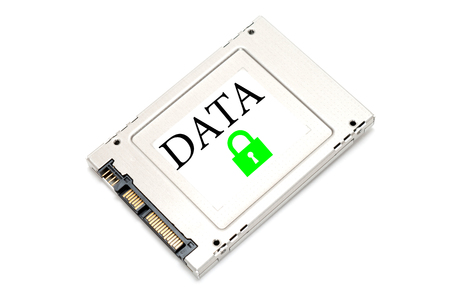 ssd: Concept security drive showing a SSD with a green lock on it