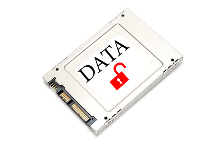 ssd: Concept breach data drive showing a SSD with open lock  on it