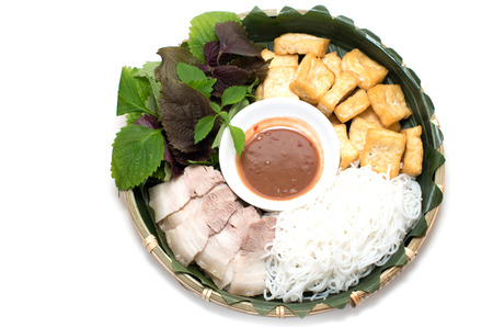 Vietnamese traditional plate pork vermicelli  tofu and vegetable photo