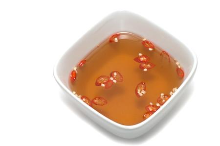 Vietnamese fish sauce bowl red chili  Stock Photo