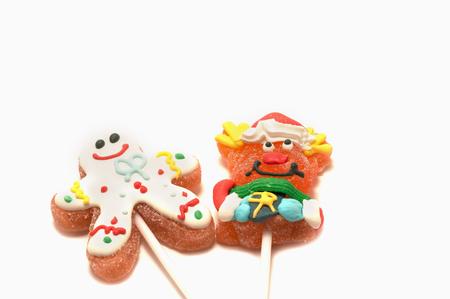 sugarplum: Two Chistmas lollipops on white background Stock Photo