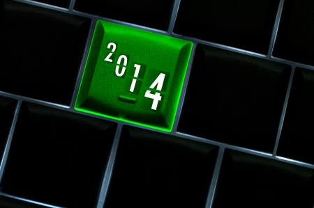 backlit keyboard: New year countdown 2014 Concept with back lit keyboard