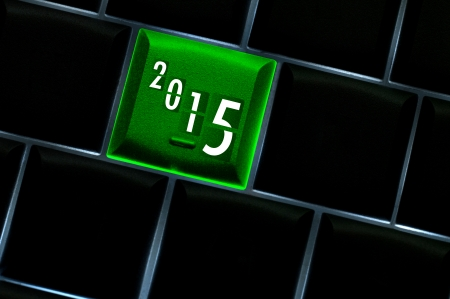 backlit keyboard: New year countdown 2015 Concept with back lit keyboard