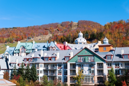 Colorful Hotels in Mont Tremblant, Quebec during autumn