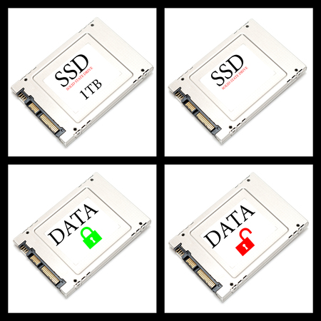 ssd: Collage four SSD drives on white background
