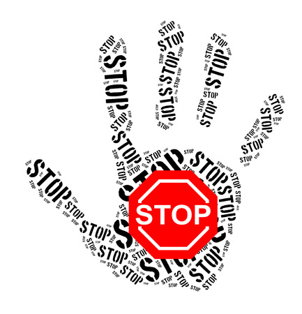 Stop sign word cloud on white background photo
