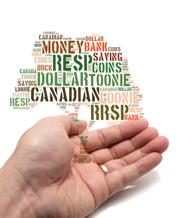Canadian growing savings concept with tag cloud tree inside a married male Asian hand on white background photo