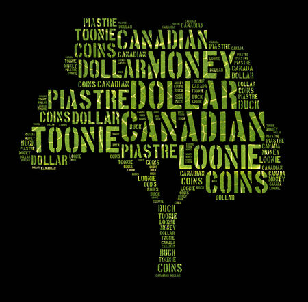 monetary concept: Canada monetary concept with word cloud forming tree shape