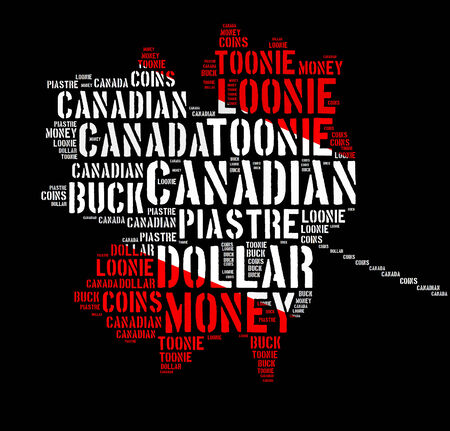 canadian: Canada monetary concept with word cloud with shape of maple leaf Stock Photo