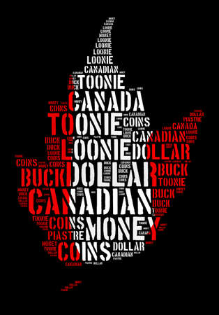 monetary concept: Canada monetary concept with word cloud with shape of maple leaf Stock Photo