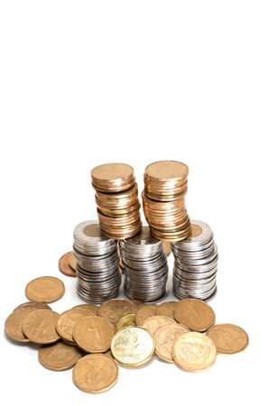 One Canadian dollar coins stack on white  photo
