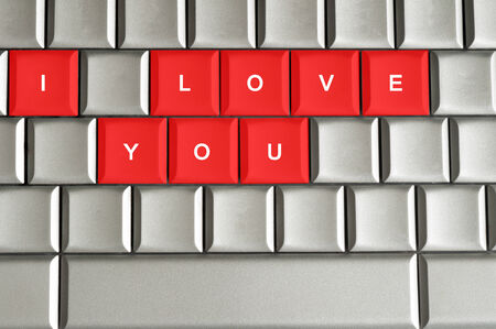 I love you spelled on metallic keyboard