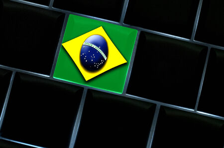 Brazilian online space concept with a backlit keyboard Imagens - 25663758