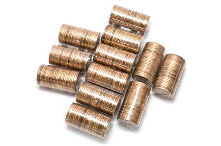 흰색 배경에 동전을 많이 스톡 콘텐츠