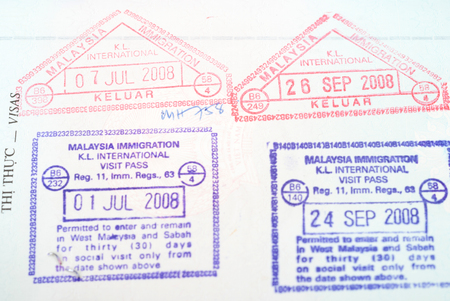 Malaysia passport entry  stamps photo