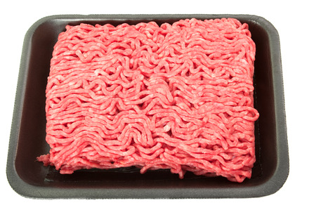 A tray of fresh lean ground beef from supermarket