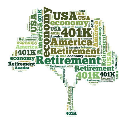 American retirement plan concept with word cloud photo