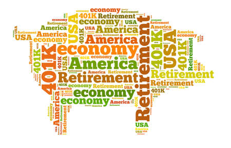 retirement nest egg: American retirement plan concept with word cloud