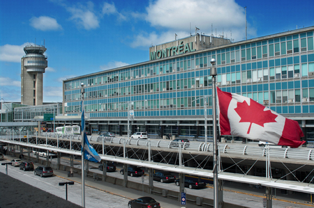 MONTREAL CITY - APRIL 16: Montreal International Airport building.  Airport is named in honor of Pierre Elliott Trudeau, the 15th Prime Minister of Canada. April 16, 2014 in Montreal, Quebec, Canada.  Editorial