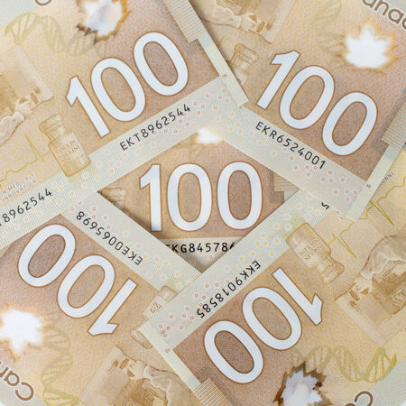 Canadian money, polymer version forming a nice  photo