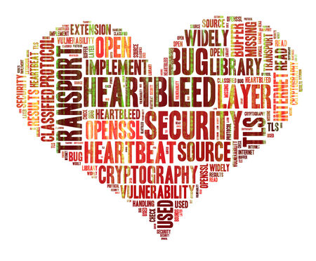 Heartbleed concept with tag cloud forming the heart shape with binary code running over it photo