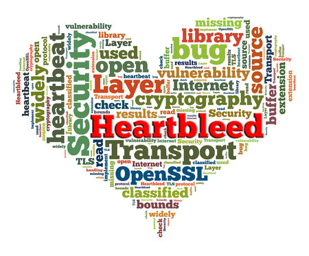 denial: Heartbleed concept with tag cloud forming the heart shape on white background