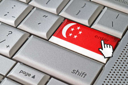 curseur souris: Business concept curseur de la souris en appuyant sur la touche Entr�e de Singapour sur le clavier m�tallique