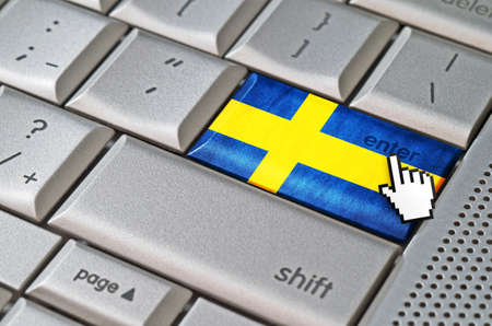 Business concept mouse cursor pressing Sweden enter key on metallic keyboard photo