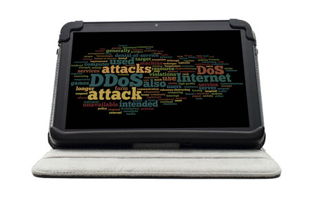 DDOS word cloud concept on electronic tablet screen on stand photo