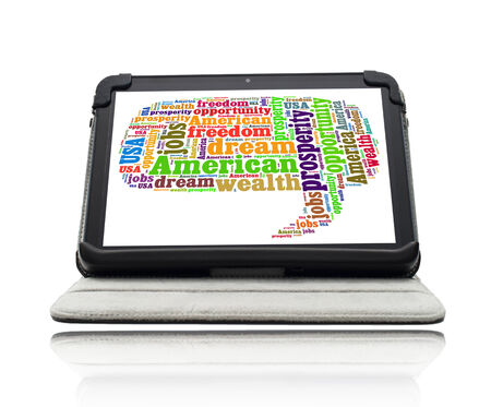 American dream concept with word cloud on a tablet screen on a stand photo
